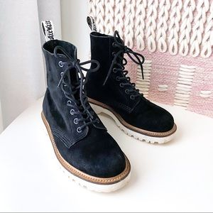Dr Martens Pascal 8 Eye Black Suede Boots Size 6